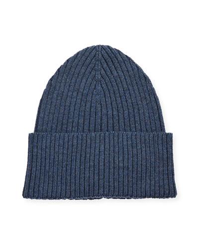 Men's Ribbed Wool Beanie Hat  Blue