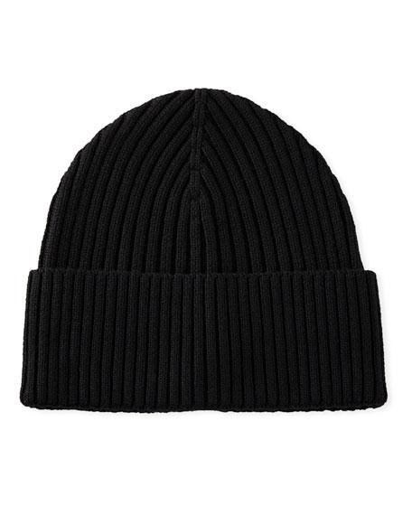 Men's Ribbed Wool Beanie Hat, Black
