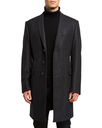 Men's Herringbone Wool-Cashmere Topcoat