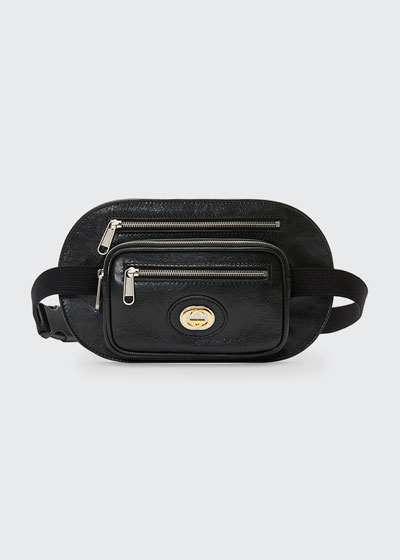 Men's Three-Pocket Leather Belt Bag