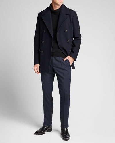 Men's Solid Wool Pea Coat