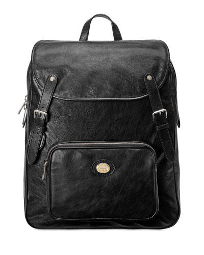 Men's Medium Leather Buckle Backpack