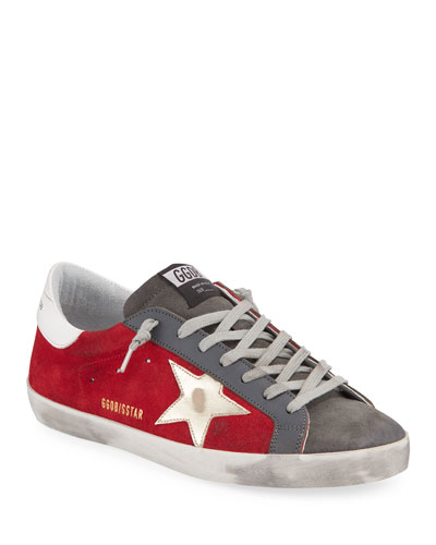 Men's Superstar Suede Sneakers with Dirty Treatment