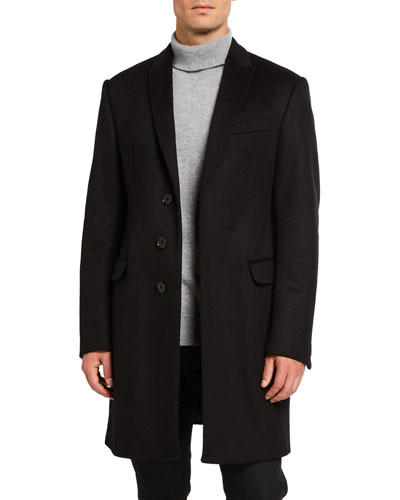 Men's Solid Water-Resistant Topcoat