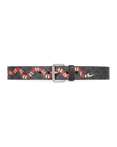 Men's GG Supreme Snake-Print Belt