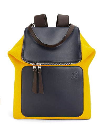Men's Goya Expandable Colorblock Wool/Leather Backpack
