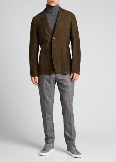 Men's Wool Flannel Flat-Front Trousers