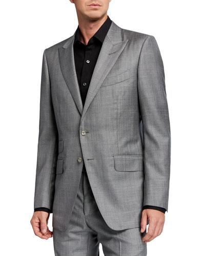 Men's O'Connor Sharkskin Wool Two-Piece Suit