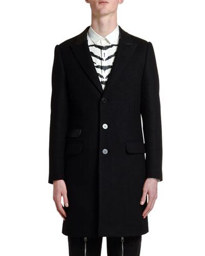 Men's Leather-Trim Wool Coat