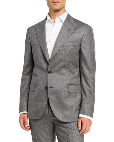 Men's Micro-Stripe Flannel Two-Piece Suit