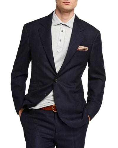 Men's Virgin Wool Windowpane Check Two-Piece Suit
