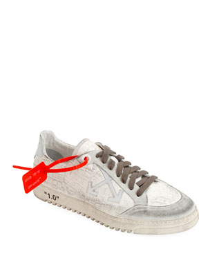 Off-White Men's 2.0 Croc-Embossed Leather Sneakers with Dirty Treatment