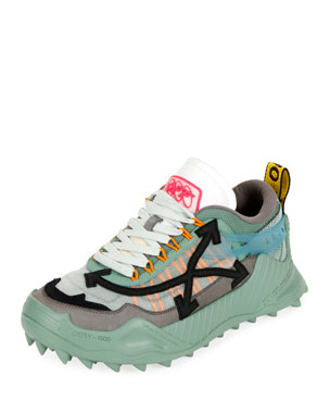 Off-White Men's Odsy-1000 Arrow Chunky Sneakers, Baby Blue/Black