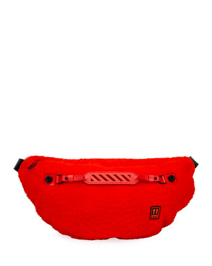 Off-White Men's Medium Lamb-Shearling Belt Bag/Fanny Pack, Red