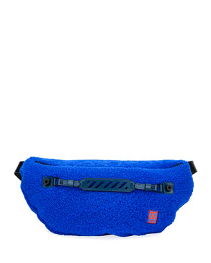 Off-White Men's Medium Lamb-Shearling Belt Bag/Fanny Pack, Blue