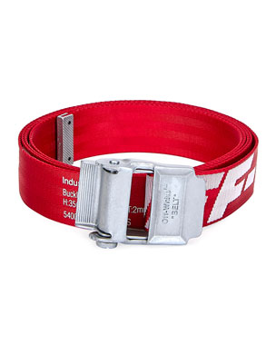 Off-White Men's Industrial Web Logo Belt, Red/White