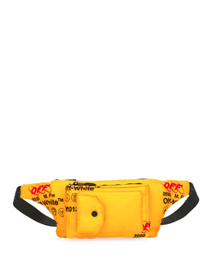Off-White Men's Industrial Pocket-Front Belt Bag/Fanny Pack