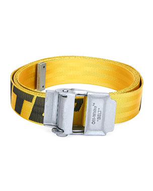 Off-White Men's Industrial Web Logo Belt, Yellow/Black
