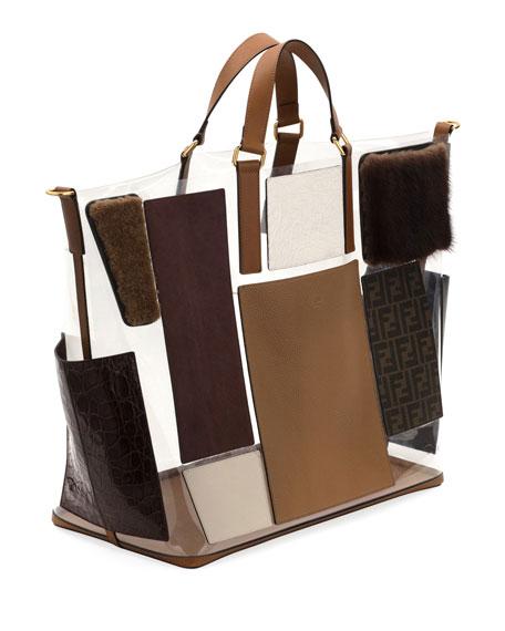 Men's Transparent Mixed Leather & Fur Tote Bag