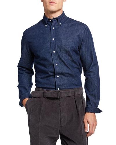 Men's Dark Denim Button-Collar Sport Shirt