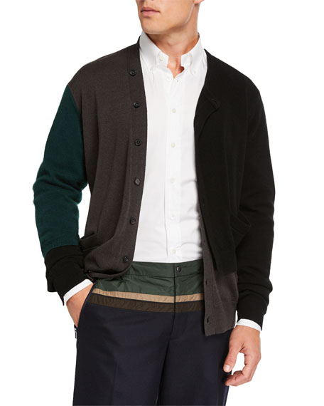 Men's Colorblock Multilayer Cashmere Cardigan Sweater