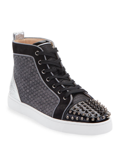 mens-lou-spikes-orlato-mixed-media-sneakers by christian-louboutin