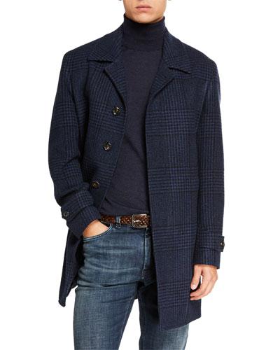 Men's Balmacan Plaid Button-Front Coat