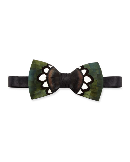Hanna Pheasant Feather Bow Tie