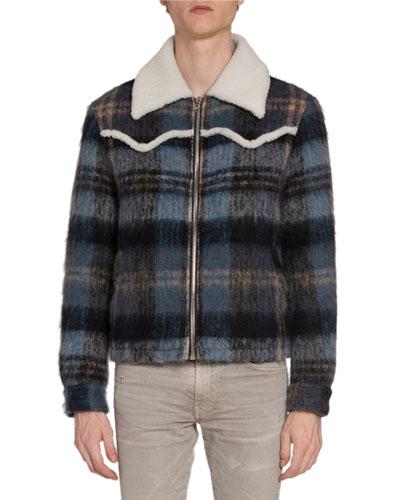 Men's Plaid Wool Short Western Jacket