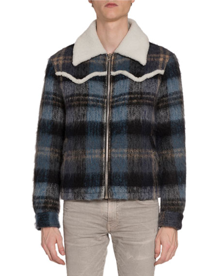 Men's Plaid Wool Short Western Jacket