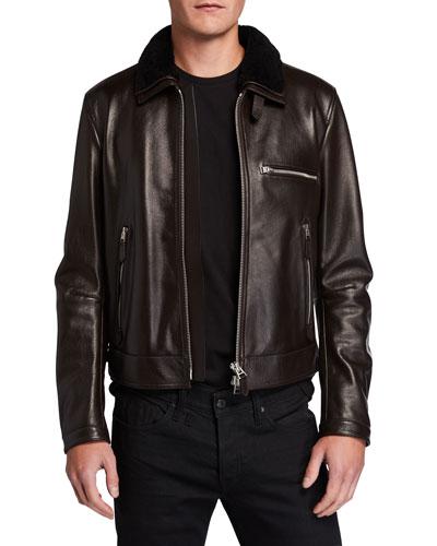 Men's Shearling-Trim Leather Jacket