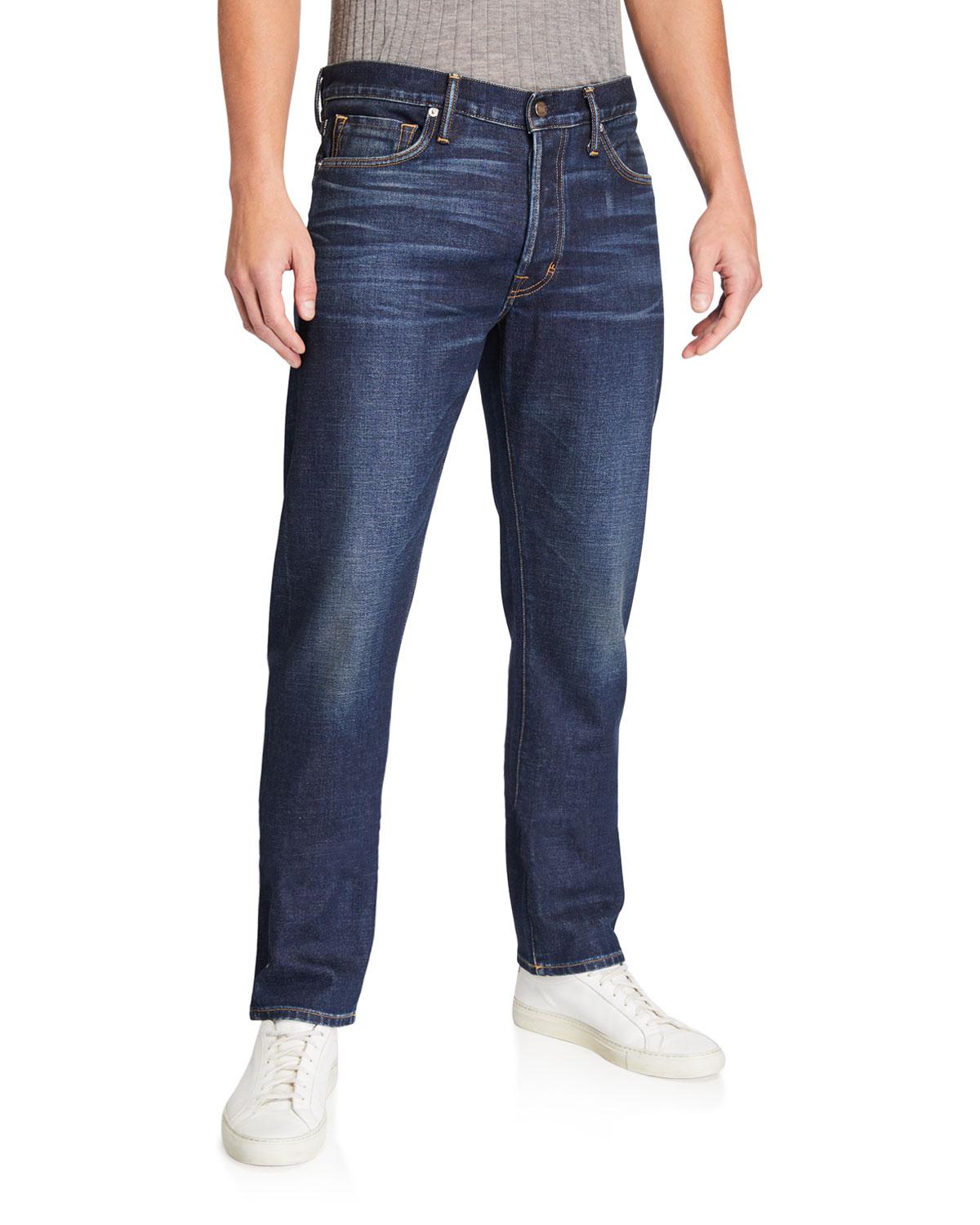 Tom Ford Men's Straight-fit Stretch-denim Jeans In Blue