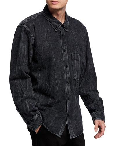Men's Heavyweight Washed Denim Overshirt