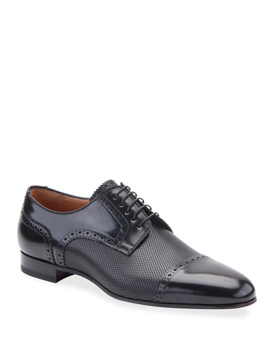 Men's Eygeny Brogue Paneled Leather Derby Shoes