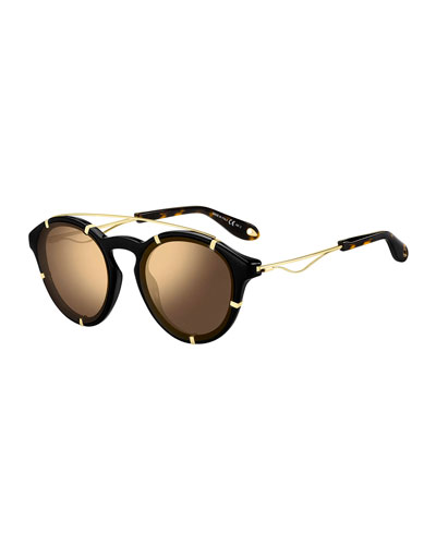 Men's Round Acetate Sunglasses with Metal Trim