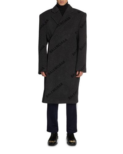 Men's Cashmere Intarsia Logo Shift Overcoat