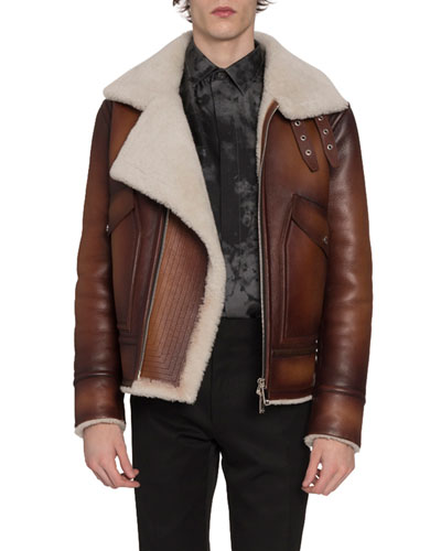 Men's Leather & Shearling Jacket with Asymmetrical Zip Front