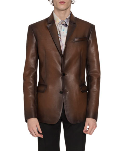 Men's Leather Two-Button Jacket