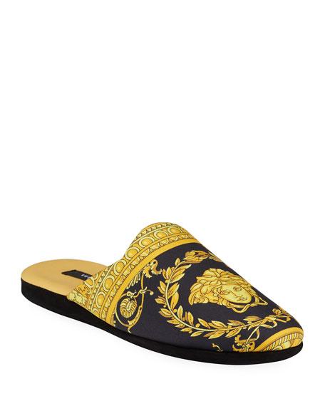 Men's Barocco Silk Robe Slippers