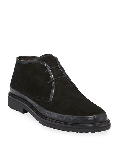 Men's Trivero Suede Chukka Boots with Mud Guard  Black