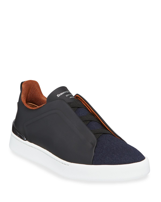Triple-Stitch Leather \u0026 Wool Sneakers