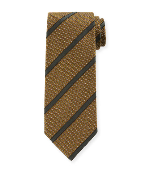 Image 1 of 1: Striped 8cm Silk-Cotton Tie, Green