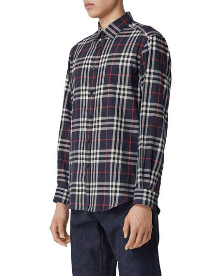 Men's Chambers Check Flannel Sport Shirt, Navy