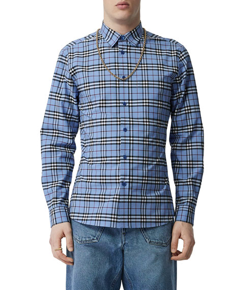 Men's Simpson Check Long-Sleeve Sport Shirt