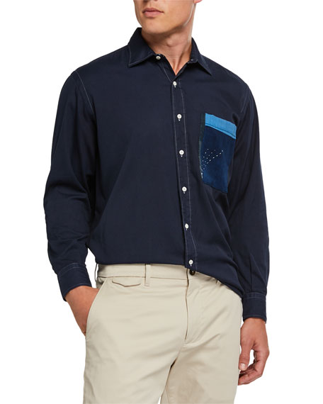 Image 1 of 1: Men's Pehoe Colorblock-Pocket Sport Shirt