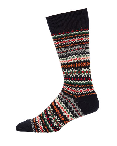 Men's Fair Isle Striped Socks