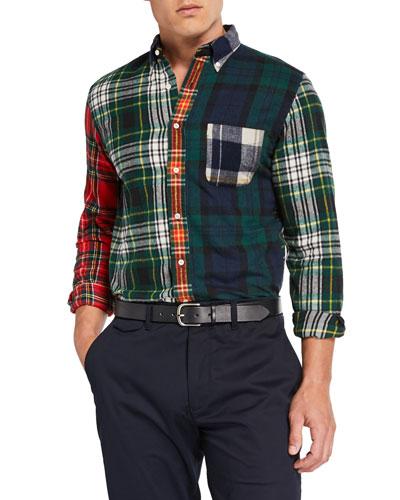 Men's Multi-Plaid Patchwork Flannel Sport Shirt