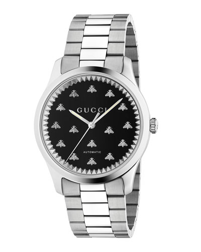 Men's Signature Bee Automatic Bracelet Watch with Black Onyx Dial