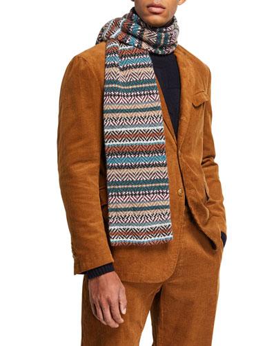 Men's Multicolor Herringbone Wool Scarf