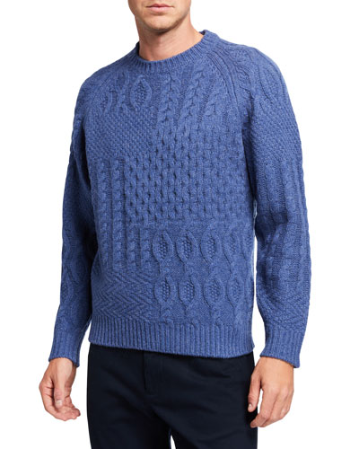 Men's Aran Mixed-Knit Solid Patchwork Sweater
